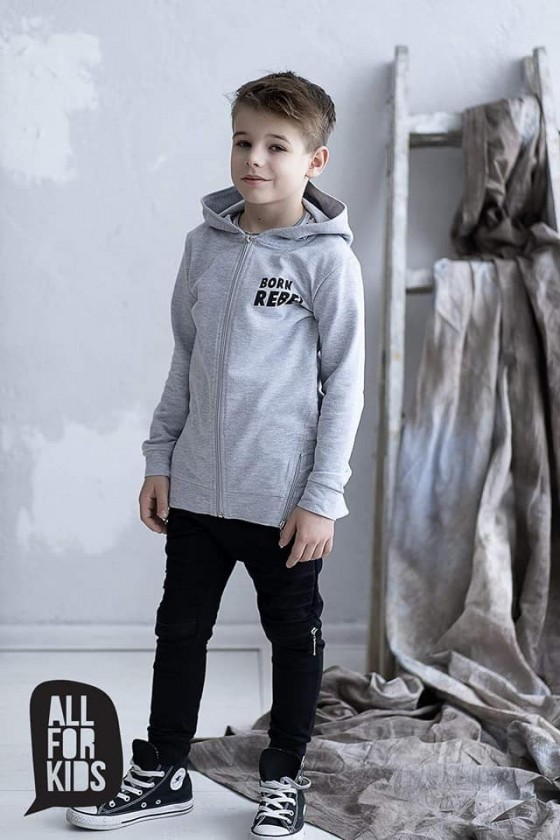 Bluza z kapturem all for kids szara REBEL