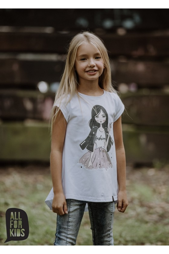 Bluzka tunika biała GIRL FASHION all for kids