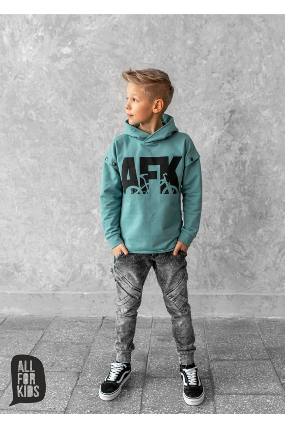 Miętowa bluza AFK kaptur all for kids